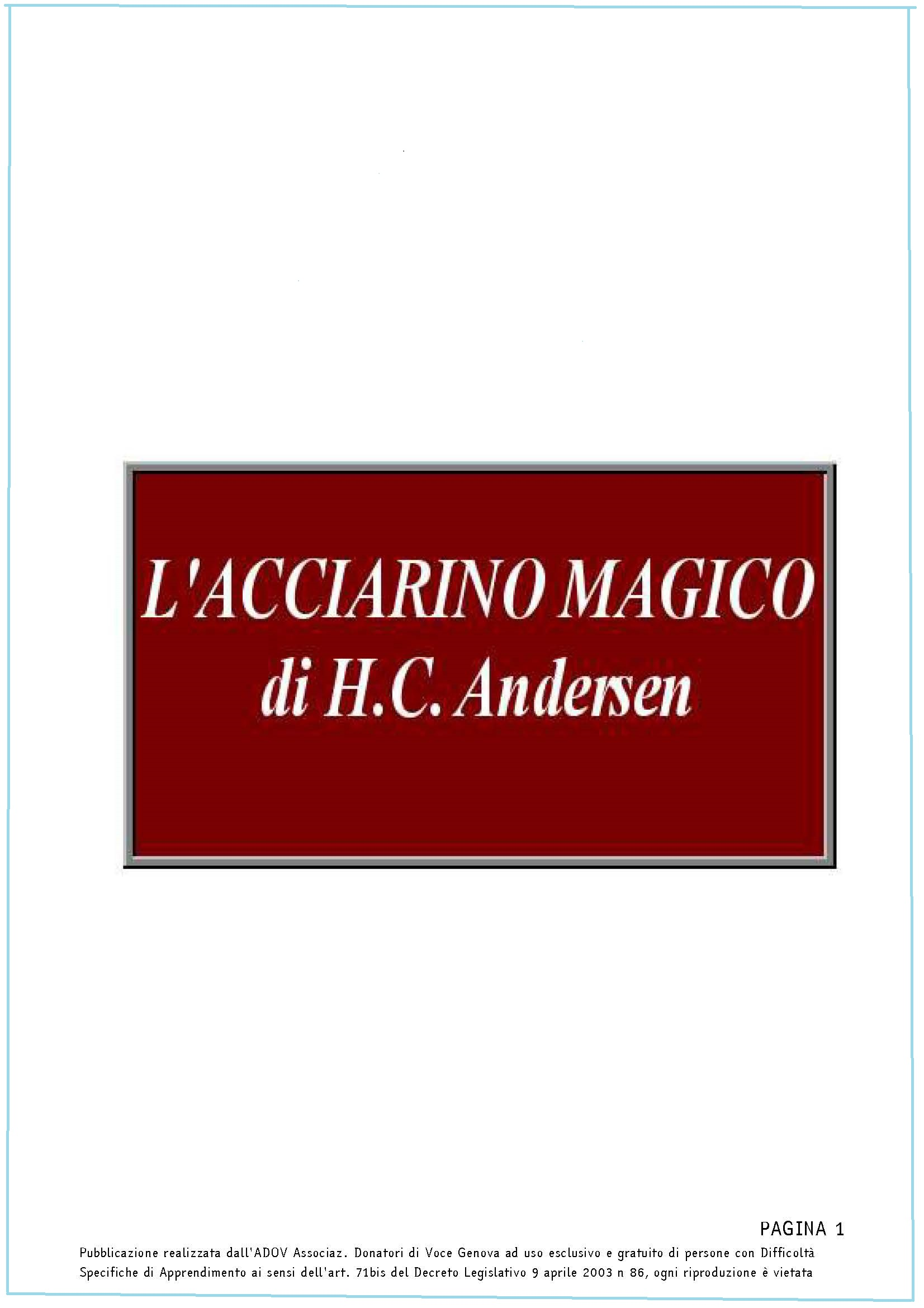 ANDERSEN Acciarino magico copertina