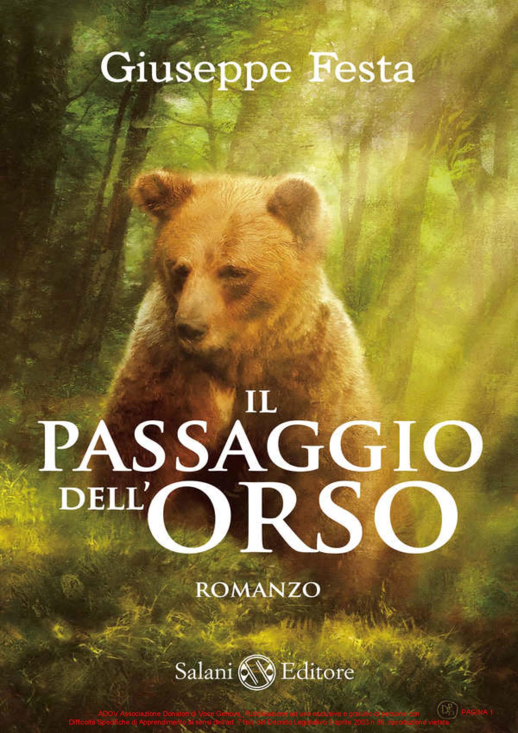 FESTA GIUSEPPE - IL PASSAGGIO DELL ORSO COPERTINA