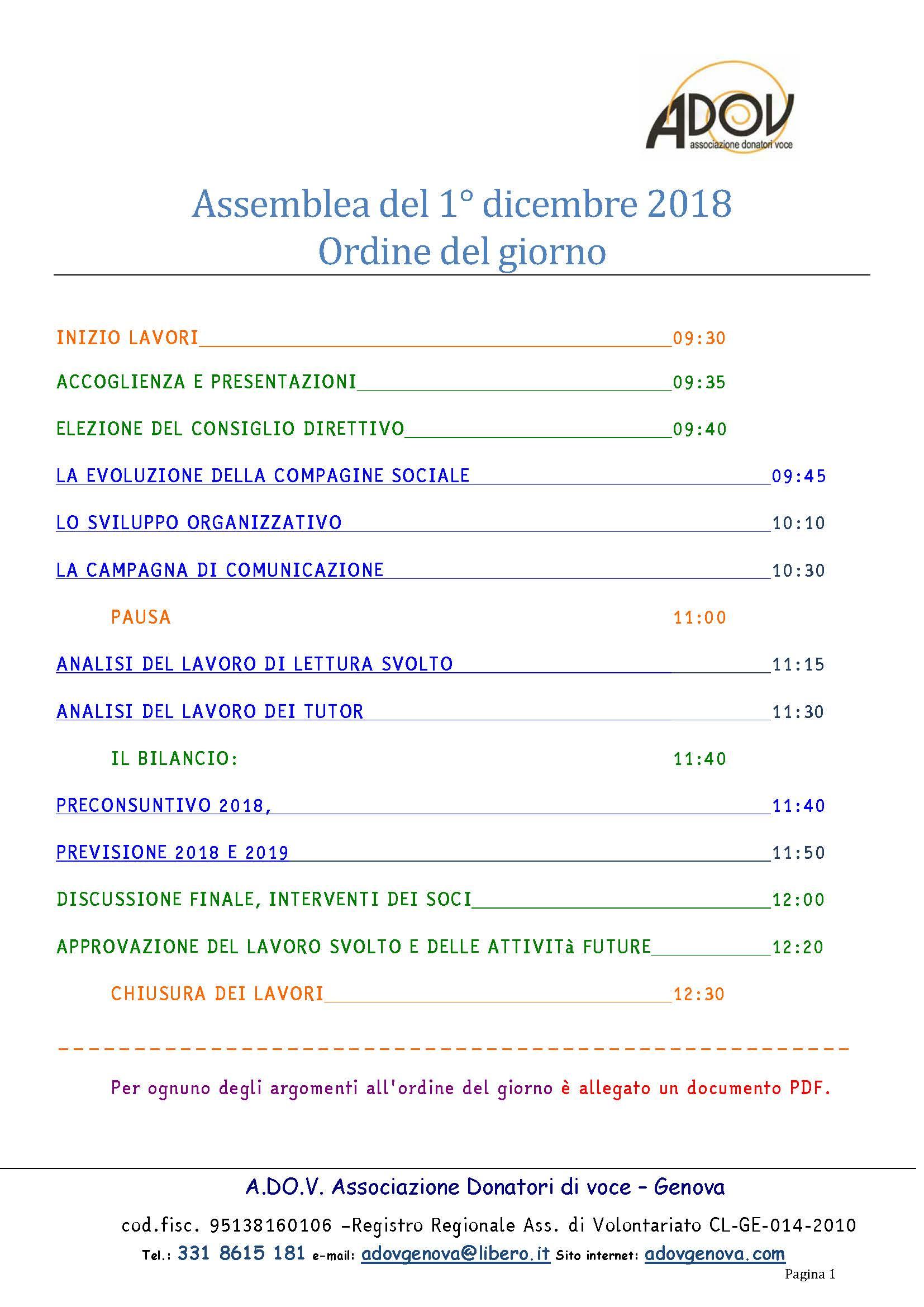 Ordine del giorno dei lavori dell assemblea sociale del 1 for Ordine del giorno camera dei deputati